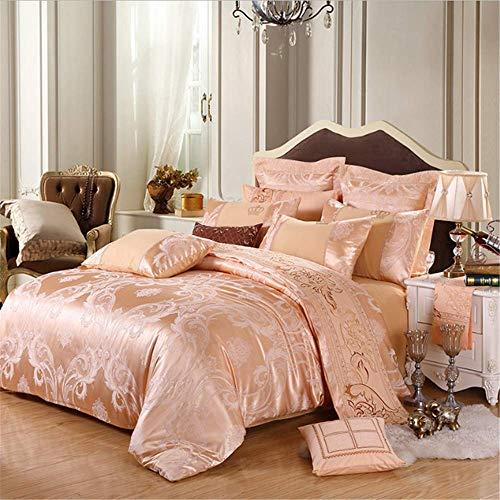 SHJIA Bettwäsche Set König Queen Size Royal Bett Set Seide Baumwolle Bettbezug Set Kissenbezug F 220x240cm (Seide König Kissenbezug)