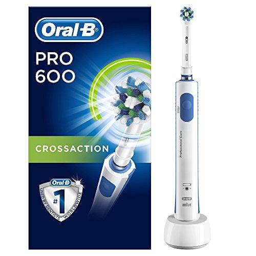 Oral-B PRO 600 CrossAction Spazzolino Elettrico Ricaricabile con 1 Manico e 1...