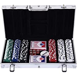 Homcom Malette Pro de Poker Coffret Pro Poker 38L x 21l x 6,5H cm 300 jetons 2 Jeux de Cartes + 2 clés Aluminium