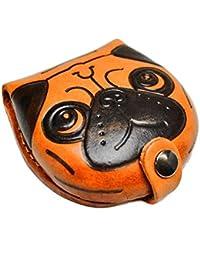 Pug moneda de perro de piel auténtica/cambio funda/cartera/Soporte * VANCA * Hecho a mano en Japón