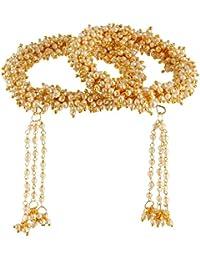 Efulgenz Traditional Designer Ethnic Gold Plated Pearl Latkan Bracelet Bangle Set Jewellery For Women And Girls