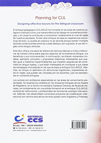 Planning for CLIL: Designing effective lessons for the bilingual classroom (Educación bilingüe)