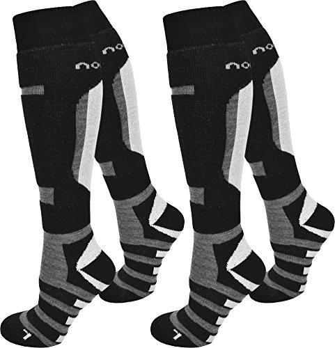 normani 4 Paar Ski-Socken für Damen und Herren Farbe Ripp/Schwarz/Grau Größe 43/46 (Acryl-ripp-socken)