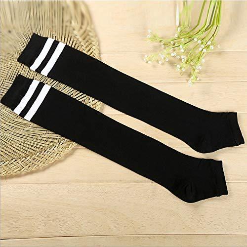 XIAOL Home Japanischer Frühling, Sommer und Herbst gekämmte Baumwolle über den Knie Haufen Haufen Socken Frauen Zwei Bars Schritt auf dem Fuß Lange Rohr Socken Schüler Bewegung (Color : Black) -