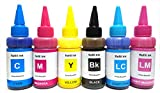 Sublimation Ink for Epson 6 Color Printers for T Shirt Transfer Printing, Mug Printing, Clothes, Plate, Mobile Cover Printings etc. High Quality 6 x 75ml Bottles CMYK, LC, LM Compatible with Epson L800, L805, L810, L850, L1800 (T673): 450ml