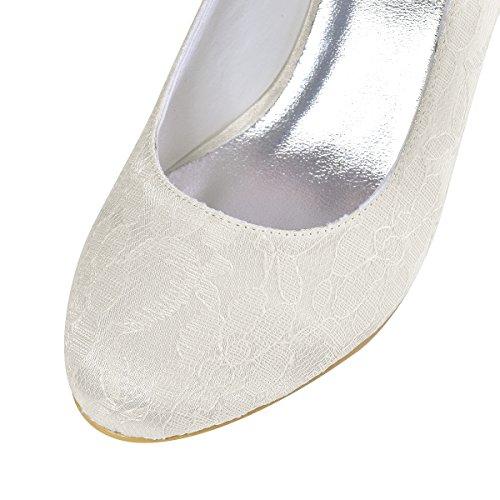 Elegantpark EP1085 Bout Ferme Dentelle Satin Bride Boucle Talon Pumps Femme Chaussures de Mariage Mariee Ceremonie Ivoire