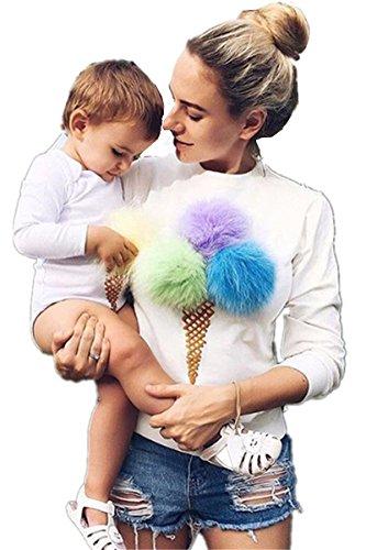 ASCHOEN - Sweat-shirt - Manches Longues - Femme blanc/bleu