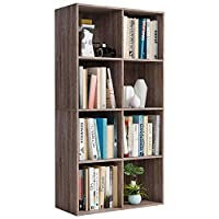Homfa Bookcase Storage Shelf 4 Tier Wood Bookshelf Display Stand 8 Cubes Unit for Home Office Cabinet