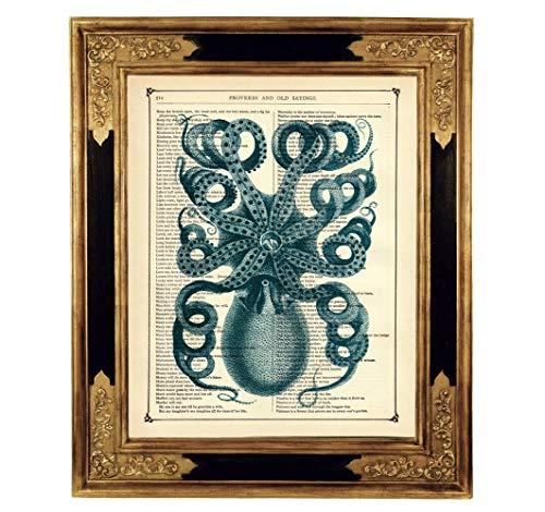 Oktopus Poster Kraken Kunstdruck auf viktorianischer Buchseite Steampunk Maritim Geschenk Geburtstag Bild ungerahmt