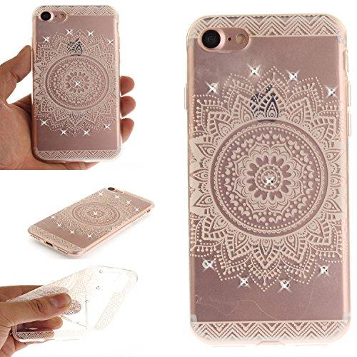 Ooboom® Hülle für iPhone 5SE Handy Tasche Transparent TPU Silikon Gel Ultra Dünn Schutzhülle Case Cover mit Bling Glitter - Totem Blume Weiß Totem Blume Weiß