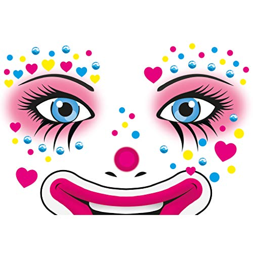 HERMA 15428 Face Art Sticker Clown Annie Gesicht Aufkleber Glitzer Sticker für Fasching, Karneval, Halloween, dermatologisch getestet (Kostüm Halloween 2019 Trends)