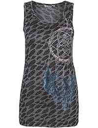 Urban Surface Damen all-over Print Shirt | Tank Top mit Traumfänger Aufdruck | Print Top aus leichtem Jersey Material