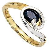 Dreambase Damen-Ring Gelbgold mit Weißgold kombiniert 14 Karat (585) Weißgold 1 Saphir 8 Diamant 0.04 ct. 58 (18.5)