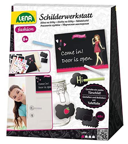 Lena 42649 - Bastelset Schilderwerkstatt, Komplettset zum Basteln von Stundenplan, Memoboard, 3 Fotorahmen, Türschild und 6 Menükärtchen, Kreativset für Kinder ab 8 Jahre, Set für Zimmerdekoration