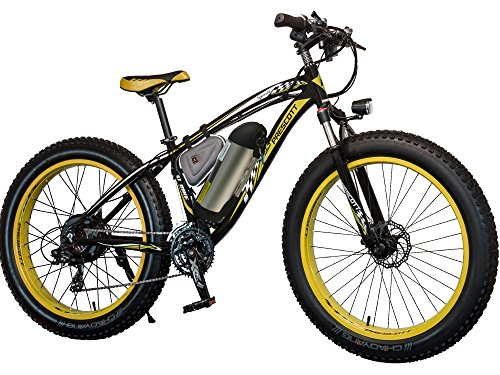 Prescott Electric Bike 350W Fat Tire Mountain Bicycle Snow Bike With Removable Lithium - Iron Battery Shimano 21 Speed Adult E-Bike For Beach, Snow,Etc … (Yellow)