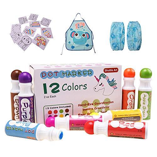 (Shuttle-Art-Marker in 12 Farben, waschbar, Bingo-Dauber-Dawgs für Kinder, Kleinkinder, Vorschulkinder, Bastelbedarf, mit 10 Mustern, doppelseitigem Klebepapier, 1 Schürze, 1 Ärmel)