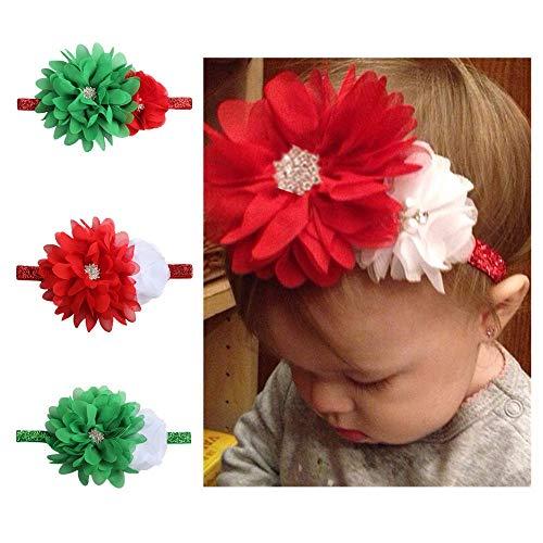Easy Go Shopping Bandeau de décoration de Noël pour bébé avec Bout pour Couture en Mousseline de Soie
