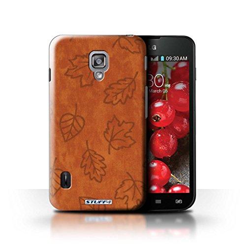Kobalt® Imprimé Etui / Coque pour LG Optimus L7 II Dual / Pourpre conception / Série Motif Feuille/Effet Textile Orange
