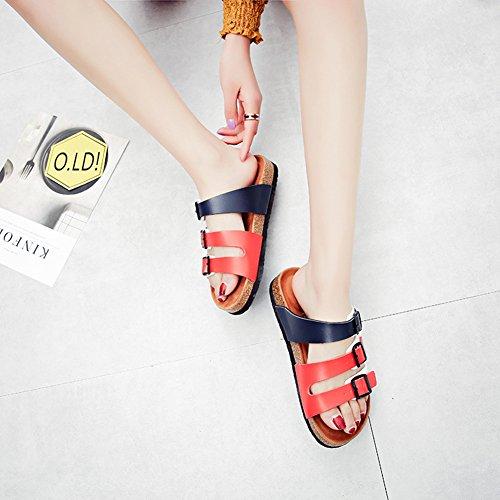 Damen Flache Hausschuhe mit Korkfußbett Unisex-Erwachsene Pantoletten Sandalen Comfort Pantofole Komfort Sandaletten Schlappen Blau rote