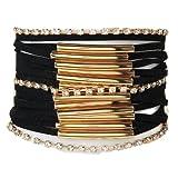 Morella Damen Armband im Ibiza Style Brasilien Look - Schwarz Gold