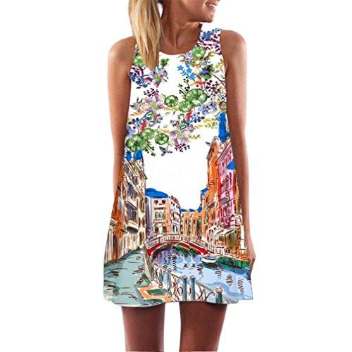 Elecenty Damen Ärmellos Sommerkleid Minikleid Strandkleid Partykleid Rundhals Rock Mädchen Blumen Drucken Kleider Frauen Mode Kleid Kurz Hemdkleid Blusekleid Kleidung (M, Weiß 4)