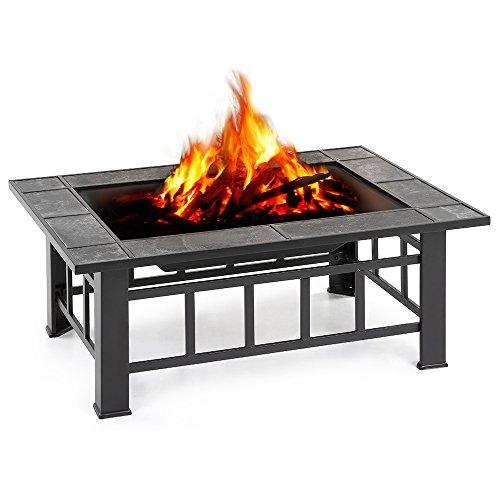 iKayaa Brasero de Jardin Brasero de Table en Métal avec Couvercle Puits de feu Foyer Rectangulaire Cheminée Extérieure de Foyer et Barbecue 94 X 71 X 35 cm