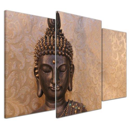 Kunstdruck - Buddha - Bild auf Leinwand - 100x60 cm 3 teilig - Leinwandbilder - Bilder als Leinwanddruck - Geist und Seele - Zen Buddhismus