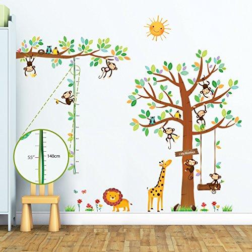 dschungel wandtattoo Decowall DM-1401P1402 8 Affen Groß Baum Zweig Höhentabelle Waldtiere Tiere Wandtattoo Wandsticker Wandaufkleber Wanddeko für Wohnzimmer Schlafzimmer Kinderzimmer