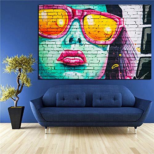 Hd Print Graffiti Kunst Frauen Gesicht Mit Sonnenbrille Öl Painng Auf Leinwand Pop Art Abstrakte Wand Bild Für Wohnzimmer 50Cmx70Cm