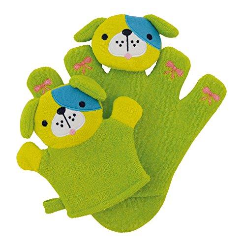 Bieco 04004090 - Waschhandschuh Set Hündchen Pauli mit Baby, ca. 24 x 22,5 x 2 cm