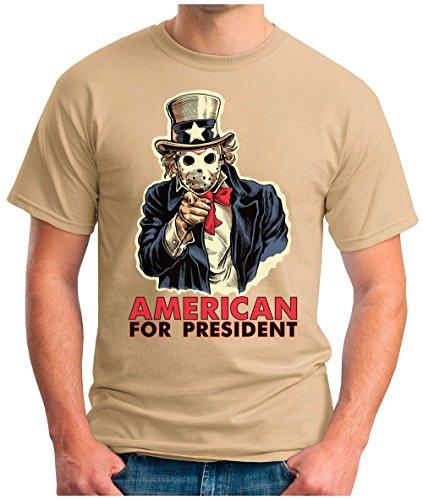 OM3 - AMERICAN-FOR-PRESIDENT - T-Shirt GEORGE WASHINGTON DC DOLLAR WE WANT YOU US ARMY PARODY FUN GEEK, S - 5XL Khaki