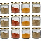 Pure Source India Small Glass Jar Set Of 12 Pcs Coming With Metal Golden Color Air Tight And Rust Proof Cap , Capacity 50 Gram About Made In India .