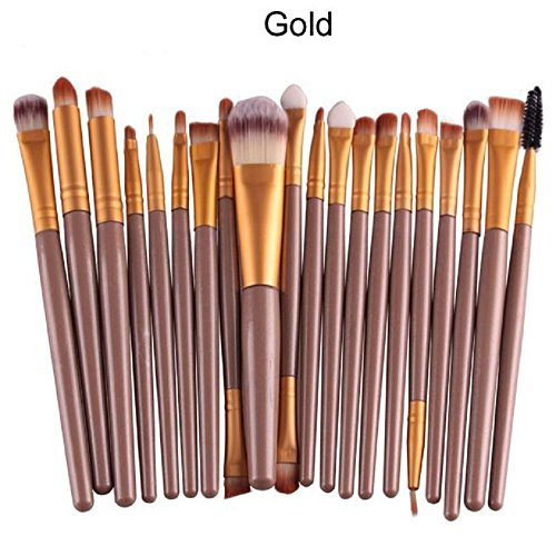 Pinceaux Maquillage, Tonsee 20pcs / outils mis en brosse de maquillage Make-up Trousse de toilette Laine Make Up Brush Set Or