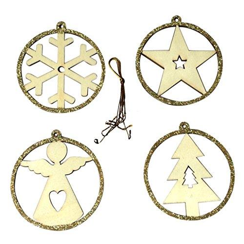 Malloom® 4x hölzerne Weihnachtsbaum-Verzierungen hängende (Für Babys Yoda Outfit)