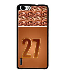 PrintDhaba Numerology Number 27 D-3662 Back Case Cover for HUAWEI HONOR 6 PLUS (Multi-Coloured)