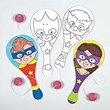 """Baker Ross Paddleballschläger """"Superhelden"""" für Kinder Zum Ausmalen und als Kleine Party-Überraschung (4 Stück)"""
