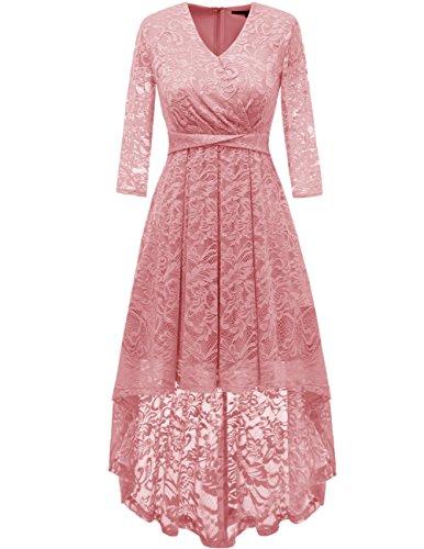 Dresstells Damen Elegant Hi-Lo Spitzenkleid Sommerkleid V-Ausschnitt Langarm Festlich...