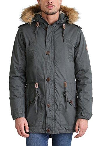 SOLID Clark Teddy Herren Parka lange Winterjacke aus 100% Baumwolle mit Kapuze und Kunstfellkragen, Größe:M, Farbe:Dark Grey (2890) - 3