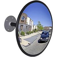 vidaXL Espejo convexo interiores para el tráfico, retrovisor seguridad marco negro,30cm