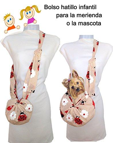 Bolso para perro Chiguagua, Yorkshire, Bichón, hasta 3 Kgr. Estampado Mariquitas Vale como bolso para niñas
