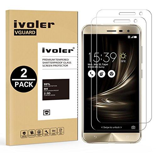 [Lot de 2] Asus Zenfone 3 ZE552KL 5.5'' Protection écran, iVoler Film Protection d'écran en Verre Trempé Glass Screen Protector Vitre Tempered pour Asus Zenfone 3 ZE552KL 5.5'' - Dureté 9H, Ultra-mince 0.30 mm, 2.5D Bords Arrondis- Anti-rayure, Anti-traces de Doigts,Haute-réponse, Haute transparence- Garantie de Remplacement de 18 Mois