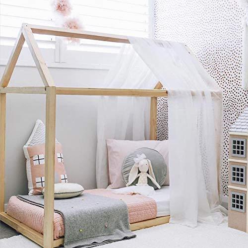 Smart star Cama Infantil Tipo Montessori, Casita Madera Natural para niño y niña Forma de casa Cama...