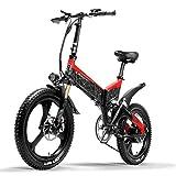 LANKELEISI G650 Bicicletta elettrica 20 Pollici Mountain Bike Pieghevole E-Bike 400W 48V Batteria al Litio 7 velocità Pedale Assist Bicicletta Doppia Sospensione (Red, 14.5Ah)