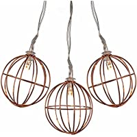 WeRChristmas Copper Wire Ball Light String Christmas Decoration with 10 Warm White LED Lights - White