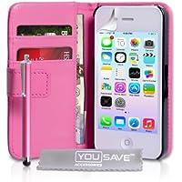 iPhone 4 / 4S Tasche Hei� Rosa PU Leder Brieftasche Hülle Mit Griffel Stift