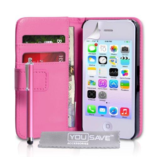 Yousave Accessories® iPhone 4/4S Tasche HeiÃ? Rosa PU Leder Brieftasche Hülle Mit Griffel Stift