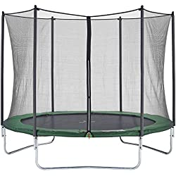 CZON Sports-trampoline exterieur enfant | Filet De Securite|Trampoline De Jardin|300 cm- Vert