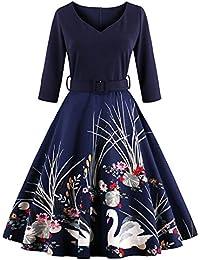 ZAFUL Mujer Vintage Vestido Años 50 Falda Impresión Floral Mangas Medias Vestidos de Fiesta A-Line Retro Rockabilly Dress S a 4XL