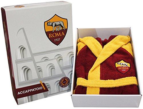 Preisvergleich Produktbild Bademantel mit Kapuze offizielle AS Roma TG S M L XL XXL gelb rot 100% Frottee Baumwolle Herren in Behälter M - 46 / 48