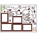Auntwhale Creative Wall Sticker Removable Photo Love Birds Sticker DIY Family Photo Frame 3D Home Decor Decal(Brown)
